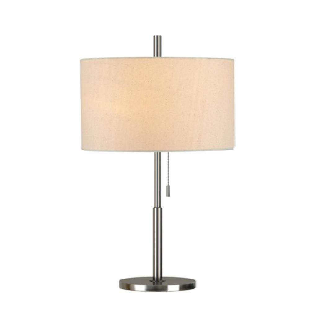 Brushed Nickel Modern Table Lamp With LED Bulb Included