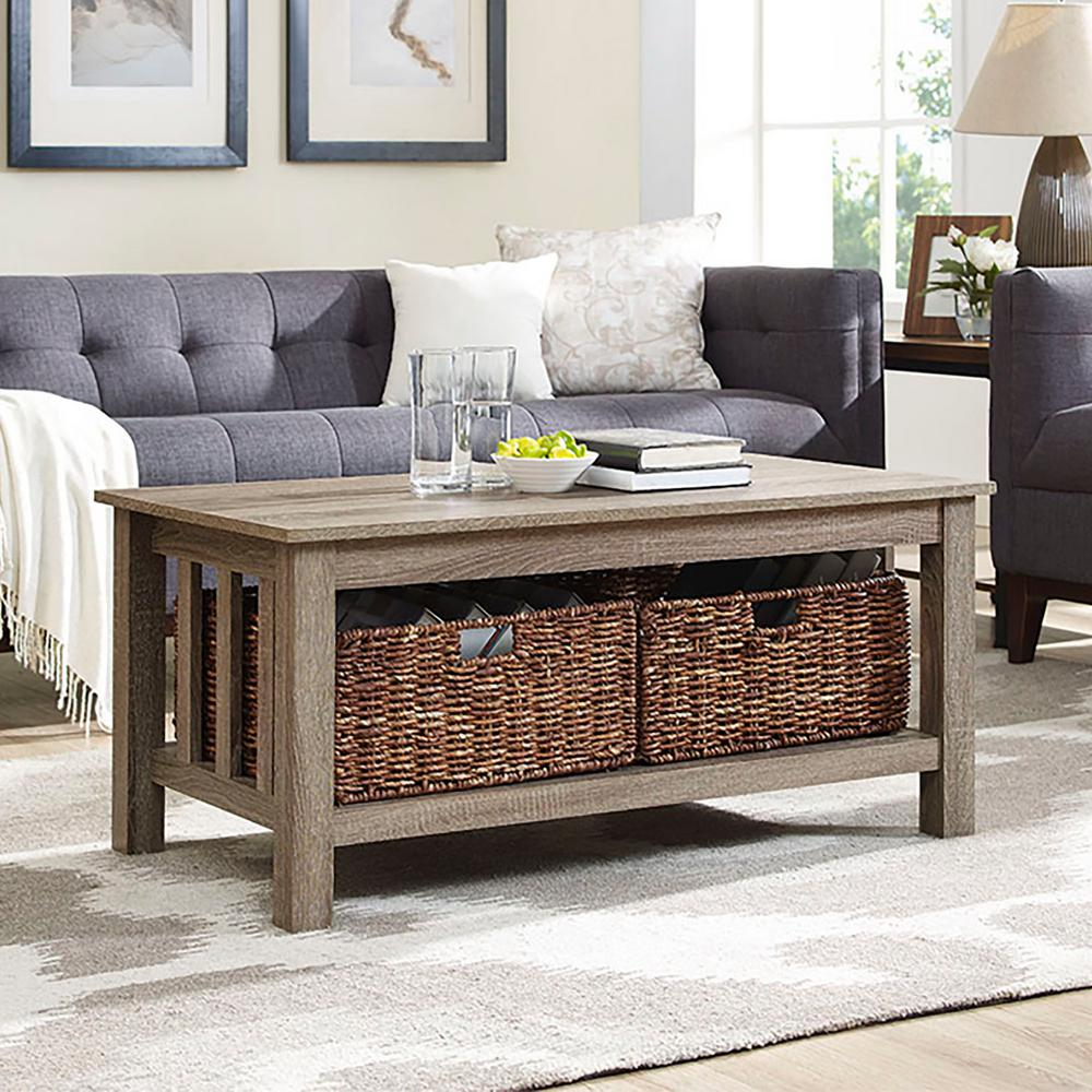 Awesome Walker Edison Furniture Company Stanford Driftwood Storage Coffee Table