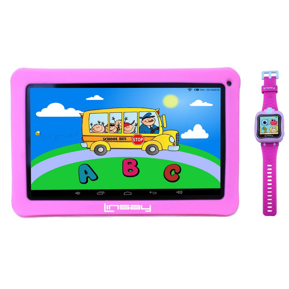 LINSAY 10.1 in. 2GB RAM 16GB Android 9.0 Pie Tablet with Pink Kids Defender Case and Pink Kids Smart Watch was $249.99 now $109.99 (56.0% off)
