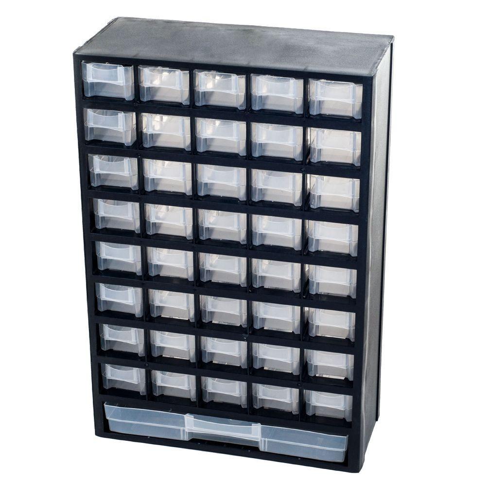 17.5 in. 41-Compartment Hardware Storage Box, Black