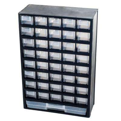 17.5 in. 41-Compartment Hardware Storage Small Parts Organizer in Black