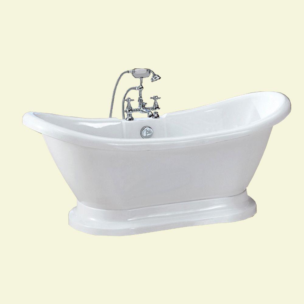 Dreamwerks 5.75 ft. Acrylic Pedestal Bathtub in White