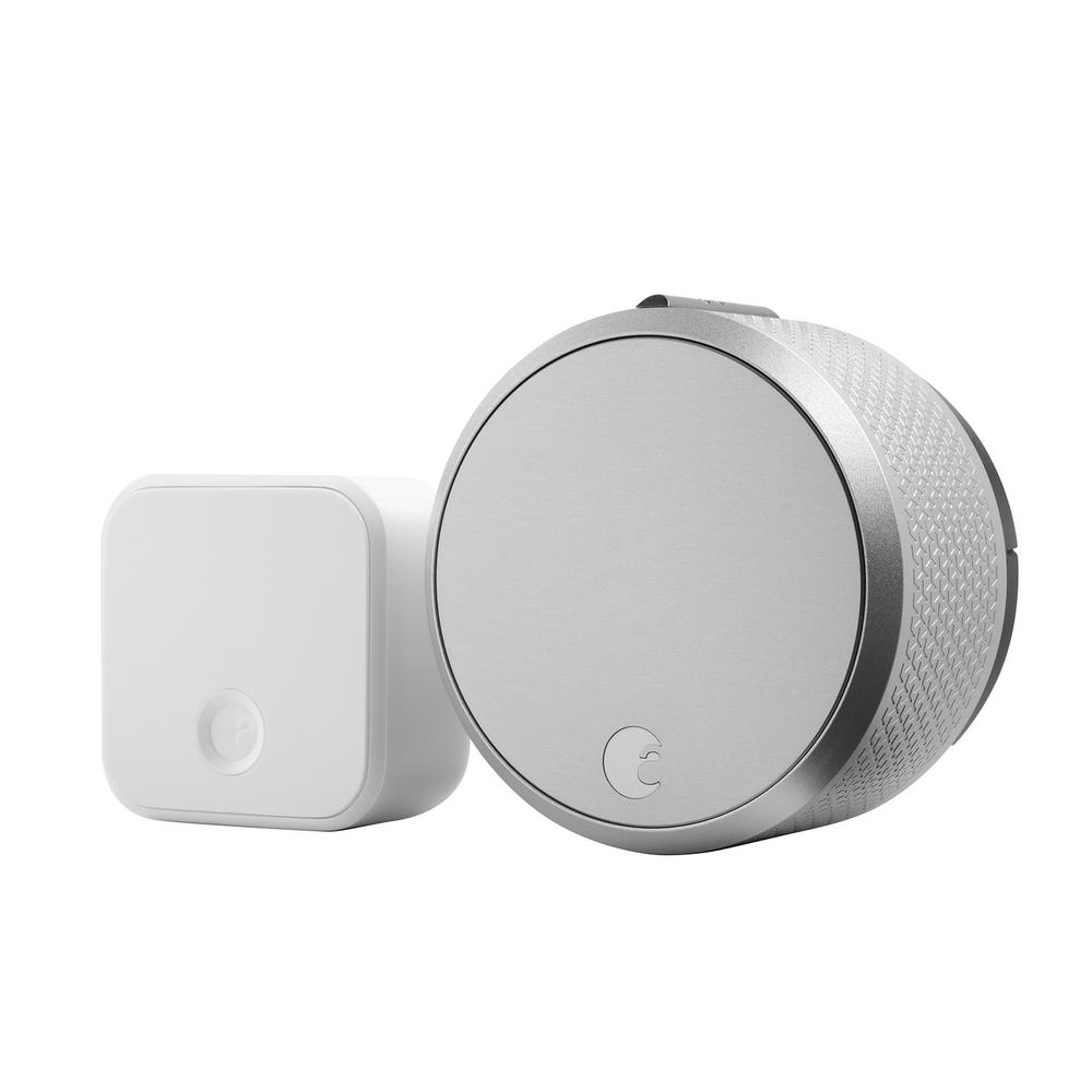 August Smart Lock Pro Silver With Connect Wi Fi Bridge Deadbolts Augsl03c02s03 The Home Depot