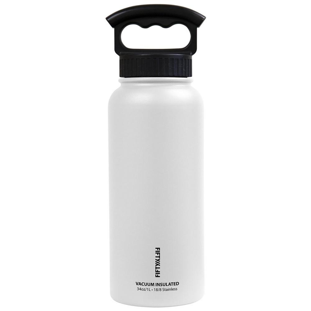 34 oz. Vacuum-Insulated Bottle with Wide-Mouth 3-Finger Handle Lid in Winter