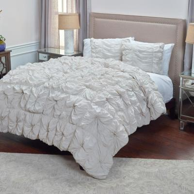 Light Gray Solid Rouching Pattern 3-Piece Queen Bed Set