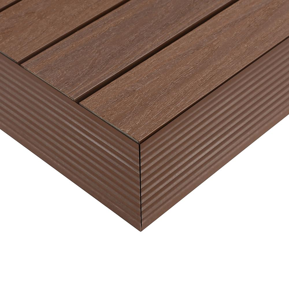 NewTechWood 1/6 ft. x 1 ft. Quick Deck Composite Deck Tile Outside Corner Trim in Brazilian Ipe (2-Pieces/Box)