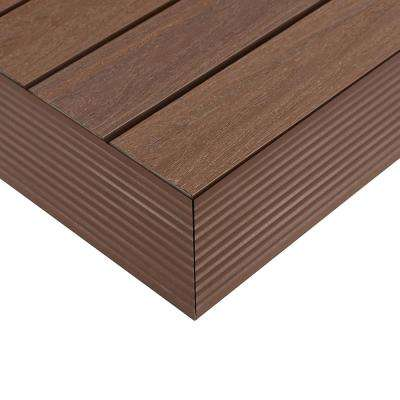 1/6 ft. x 1 ft. Quick Deck Composite Deck Tile Outside Corner Trim in Brazilian Ipe (2-Pieces/box)