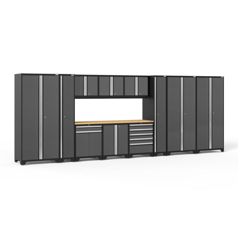 NewAge Products Pro 3.0 85.25 in. H x 222 in. W x 24 in. D 18-Gauge Welded Steel Garage Cabinet Set in Gray (12-Piece)