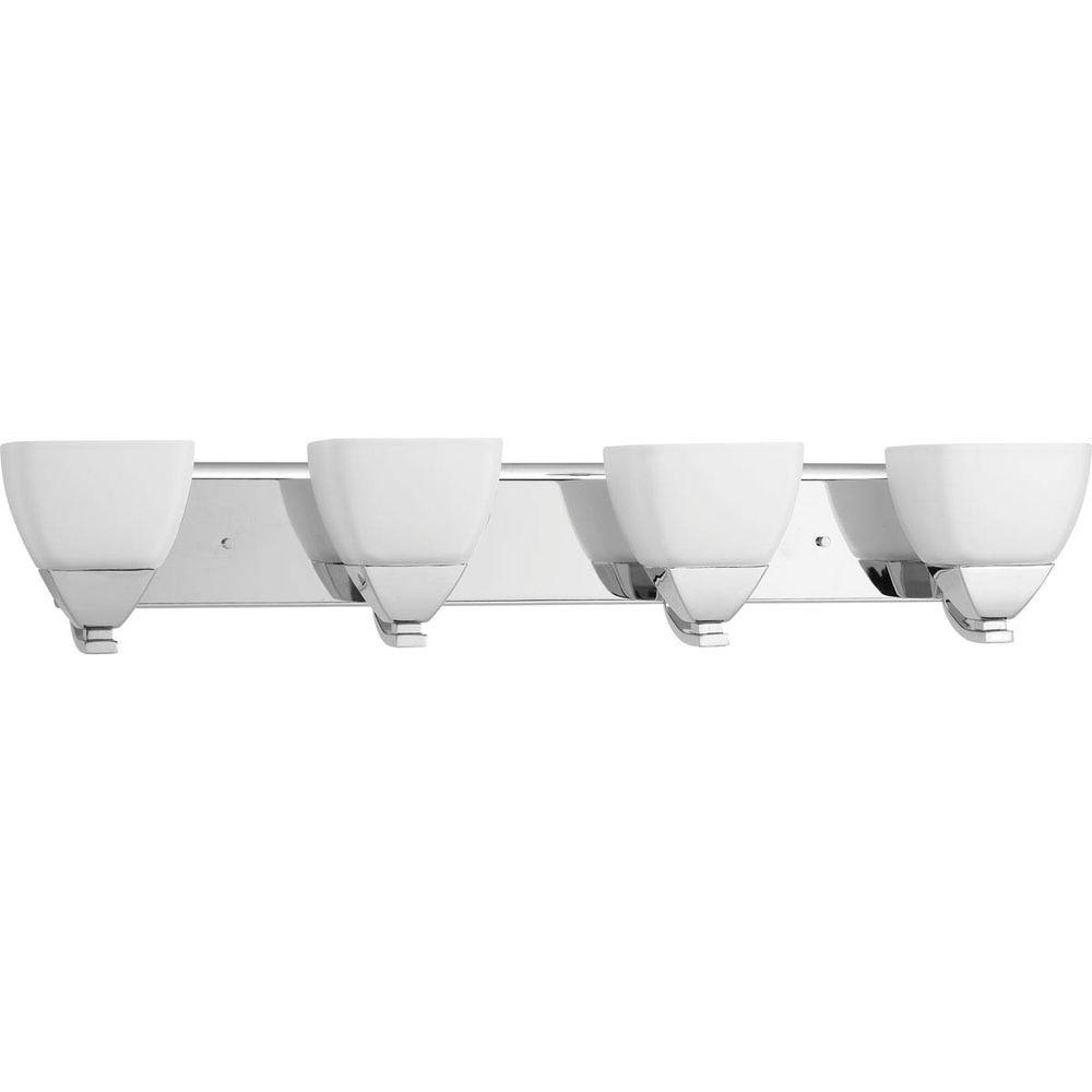 Appeal Collection 4-Light Polished Chrome Vanity Light with Etched White Glass
