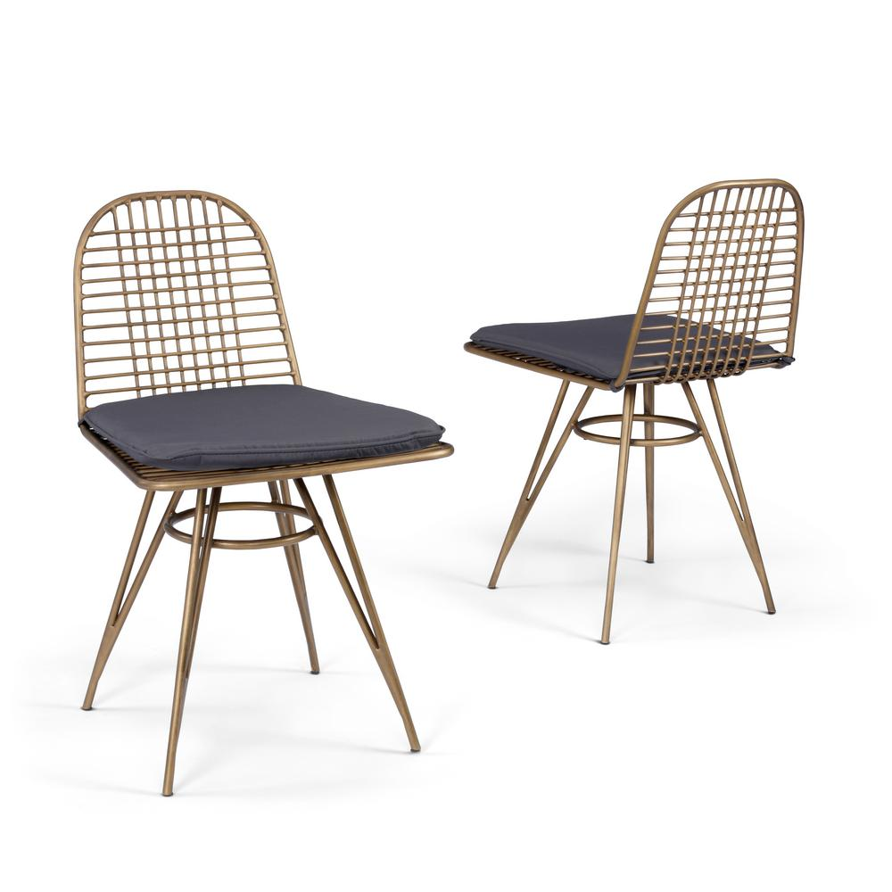 Panama Brass Metal Outdoor Dining Chair with Gray Cushions (2-Pack)