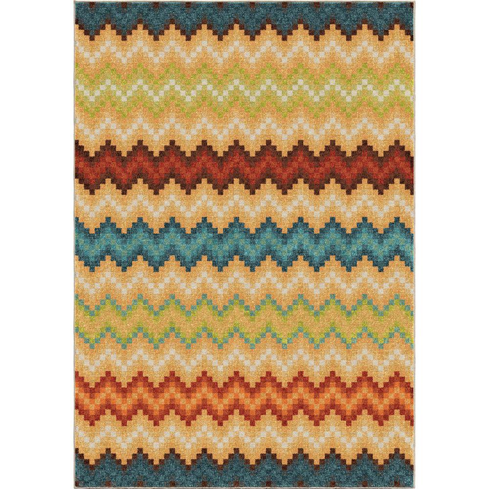 Orian Rugs Prism Break Multi Chevron Bright Colors 5 Ft X 8 Indoor