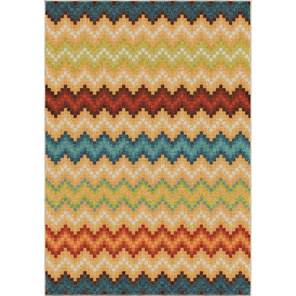 Orian Rugs Prism Break Multi Chevron Bright Colors 7 Ft
