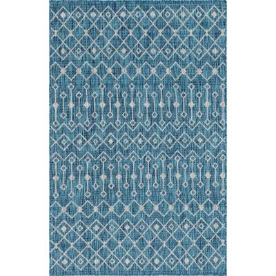 Teal/Gray Tribal Trellis Outdoor 8 ft. x 11 ft. Area Rug