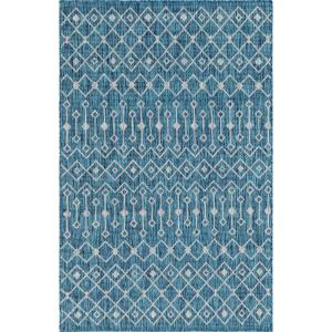 Unique Loom Teal Gray Tribal Trellis Outdoor 7 Ft X 10 Ft Area Rug 3145019 The Home Depot