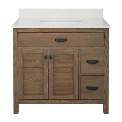 Stanhope 37 in. W x 22 in. D Vanity in Reclaimed Oak with Engineered Stone Vanity Top in Coffee with White Sink