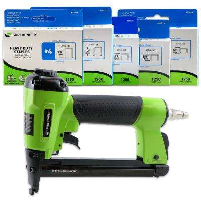 Pneumatic-7 Piece-Heavy Duty Standard Staple Gun/Staple Kit-1/4 in.,5/16 in.,3/8 in.,1/2 in. and 9/16 in. Staples Incl.