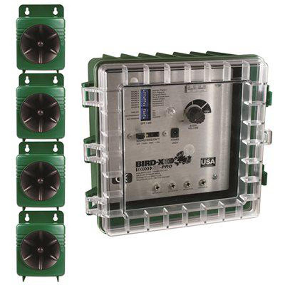 Broadband Pro Electronic Bird Repeller System Sonic Ultrasonic Sounds Includes Bird Deterrent Visual Repellents