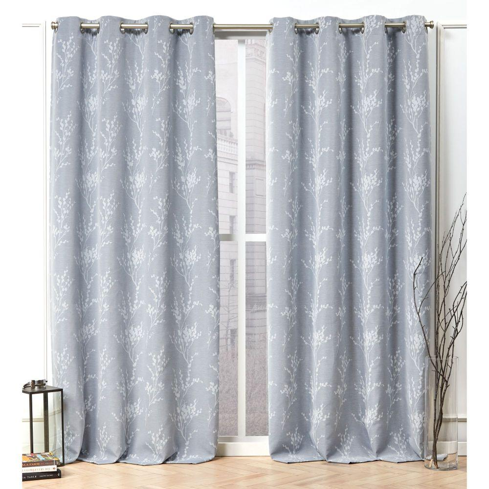 Nicole Miller Turion Chambray Blue Blackout Grommet Top Curtain Panel - 52 in. W x 84 in. L (2-Panel)