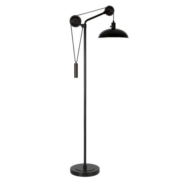 Neo 70.75 in. Blackened Bronze Pulley Floor Lamp