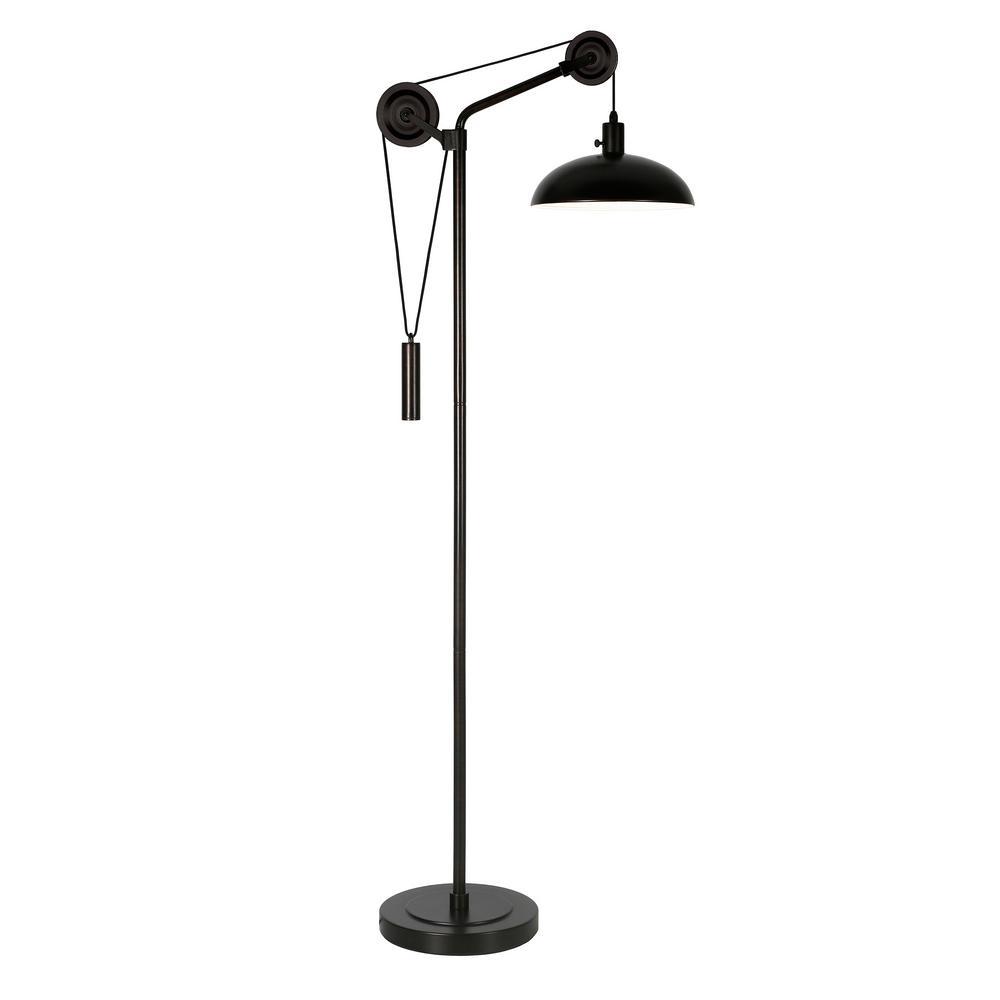 Neo 70.75 in. Blackened Bronze Pulley Floor Lamp