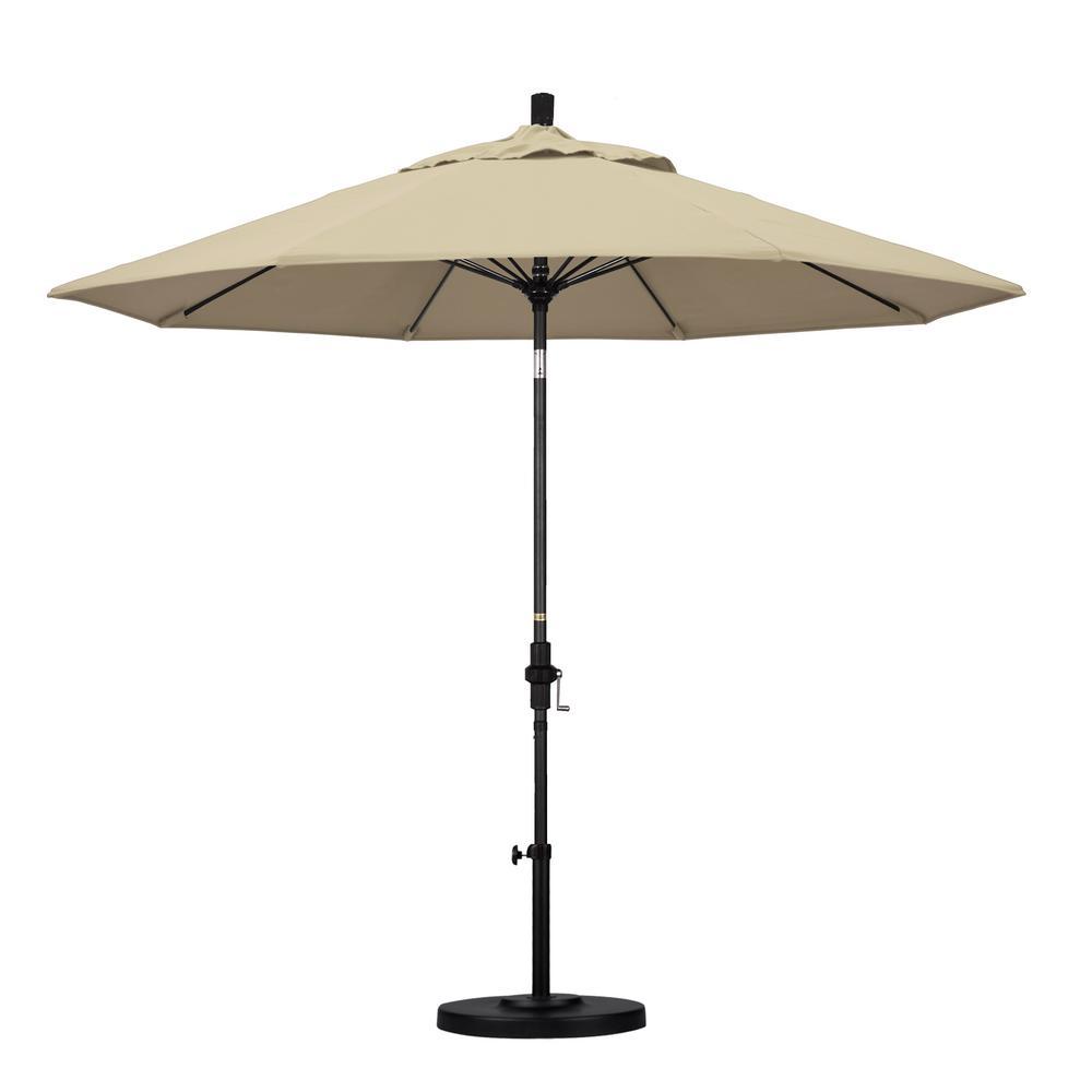 9 ft. Matted Black Aluminum Market Patio Umbrella with Collar Tilt Crank Lift in Antique Beige Sunbrella
