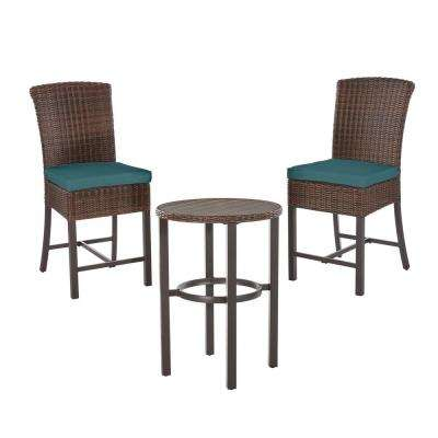 Harper Creek Brown 3-Piece Steel Outdoor Patio Bar Height Dining Set with CushionGuard Charleston Blue-Green Cushions