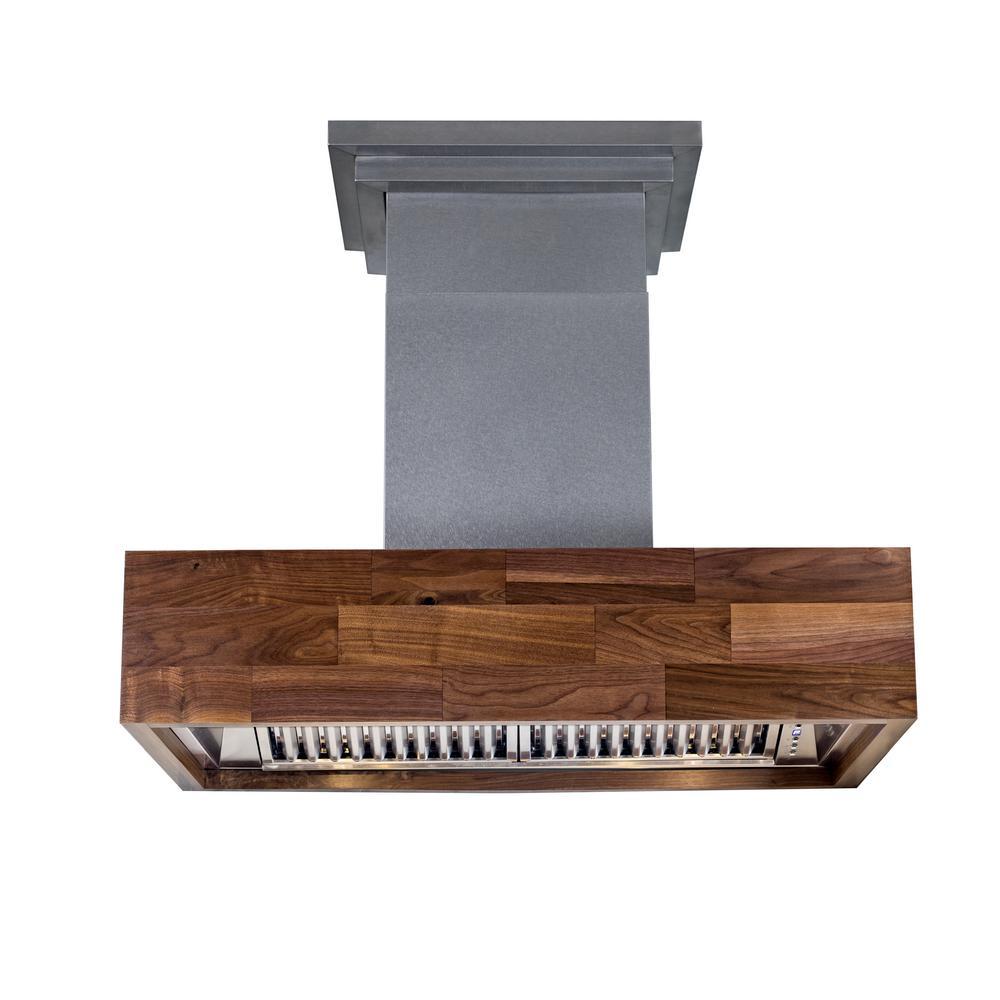 ZLINE Kitchen and Bath 36 in. 900 CFM Wooden Wall Mount Range Hood Butcher Block with lights in Maple
