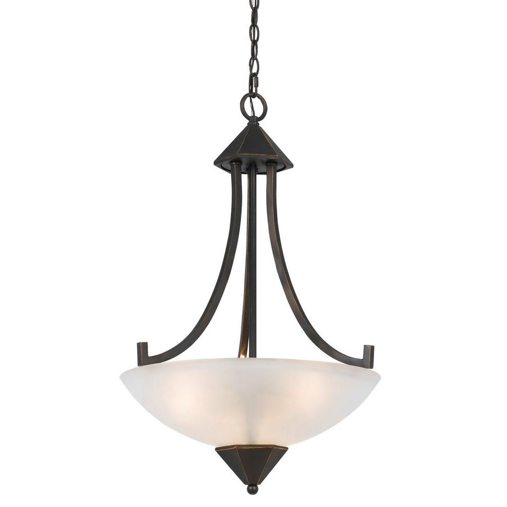 CAL Lighting 3-Light Hand Forged Dark Bronze Iron Westbrook Ceiling Mount Chandelier with Glass Shade