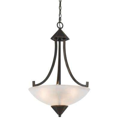 3-Light Hand Forged Dark Bronze Iron Westbrook Ceiling Mount Chandelier with Glass Shade