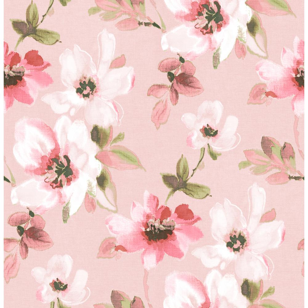 Brewster 56 4 Sq Ft Reign Pink Bouquet Wallpaper Hn002659 The