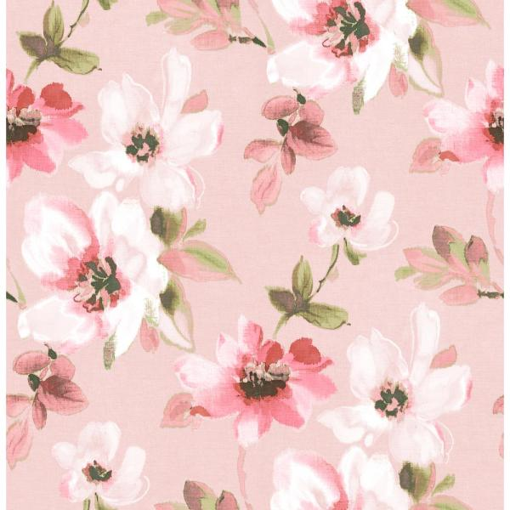 Pink Flowers Wallpaper: Brewster 56.4 Sq. Ft. Reign Pink Bouquet Wallpaper