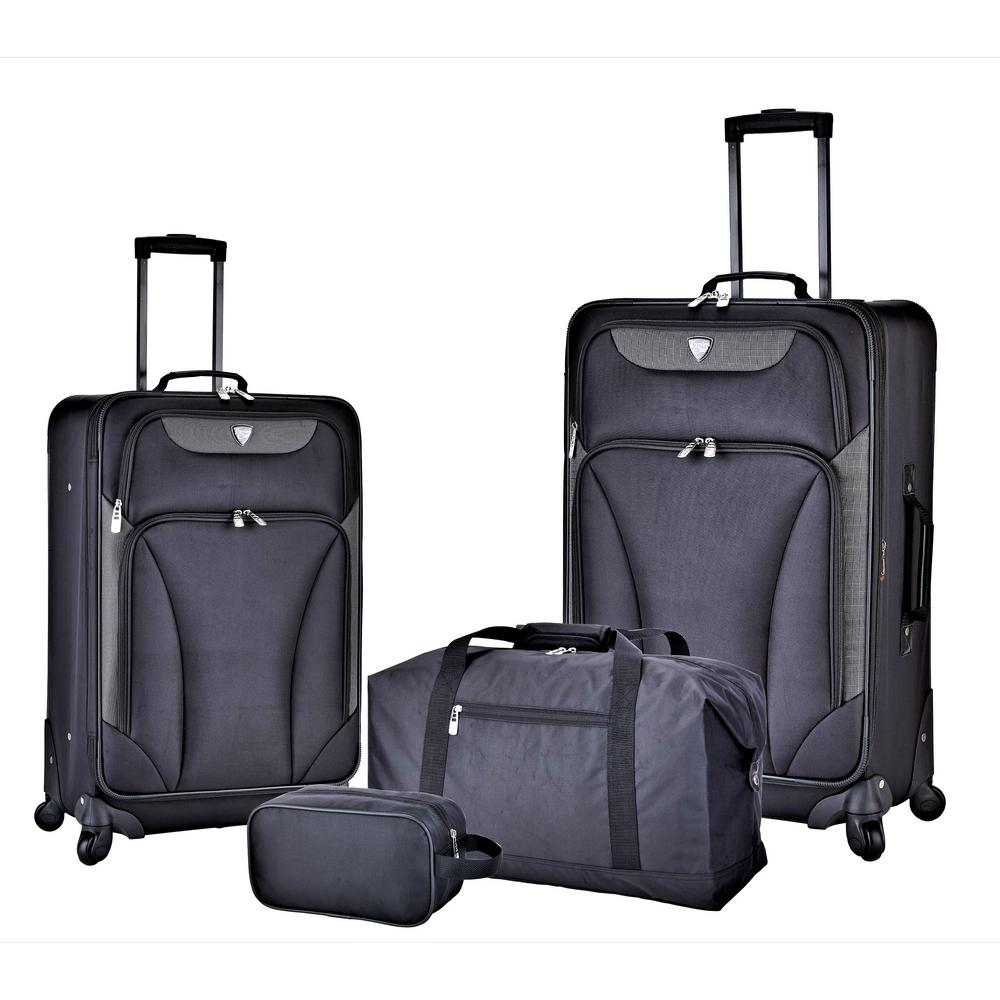 4-Piece Black Expandable Softside Luggage Set with Weekender Tote