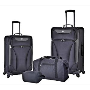 Deals on Travelers Club 4-Piece Black Expandable Softside Luggage Set
