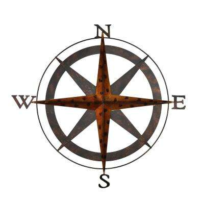 Boreas Bronze Metal Compass Wall Decor