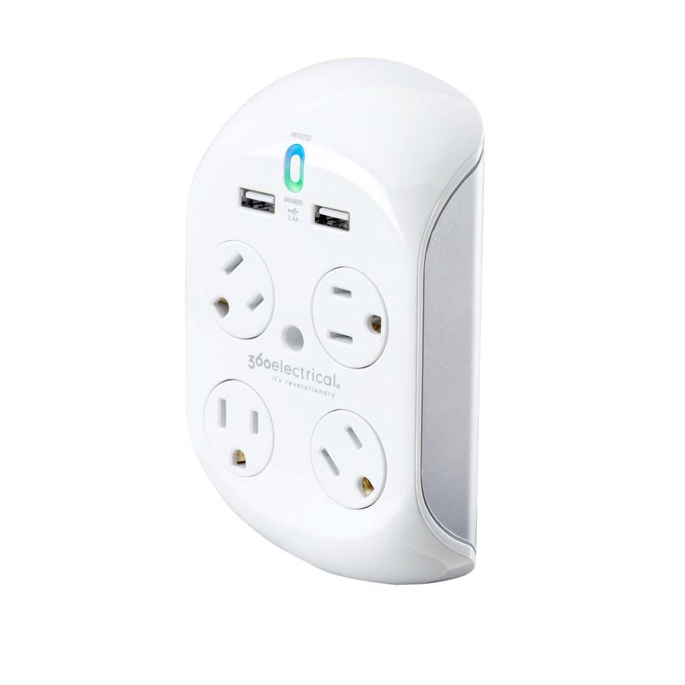 Revolve + 4-Rotating Outlet and 2-USB Charger Surge Protector