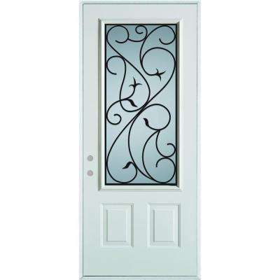 36 in. x 80 in. Silkscreened Glass 3/4 Lite 2-Panel Painted White Steel Prehung Front Door