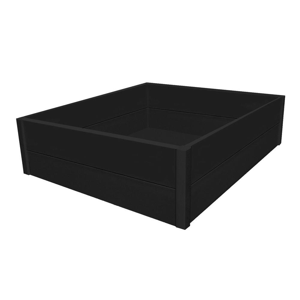 Eagle One 36 in. x 48 in. x 12 in. Black Recycled Plastic Commercial Grade Raised Garden Bed