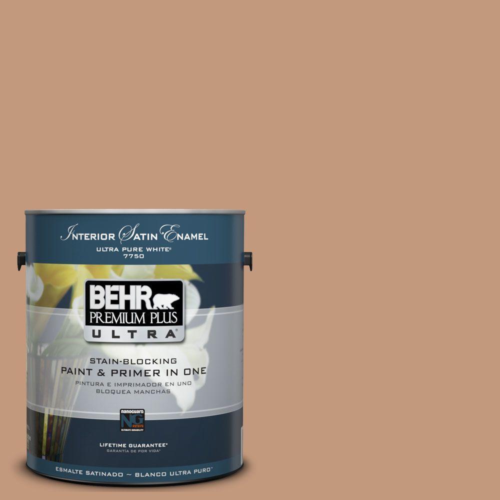 BEHR Premium Plus Ultra 1-Gal. #UL130-7 Egyptian Pyramid Interior Satin Enamel Paint