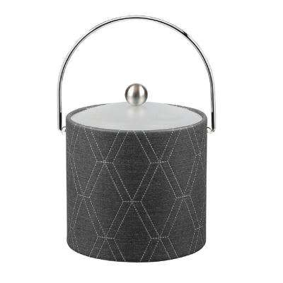 3 Qt. Stonehenge Midnight Ice Bucket with Bale Handle and Acrylic Lid with Metal Ball Knob
