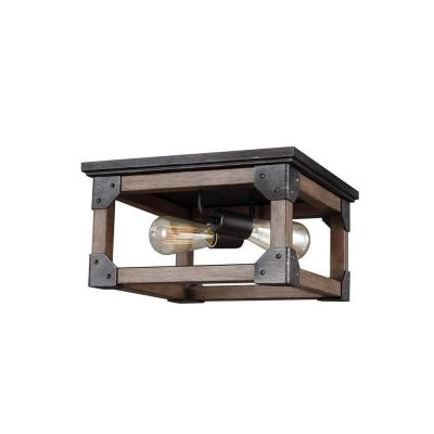 Dunning 13.5 in. W. 2-Light Weathered Gray and Distressed Oak Flush Mount