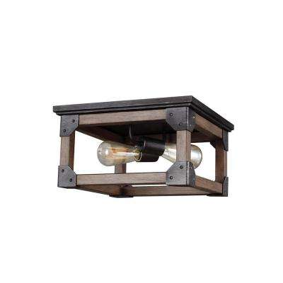 Dunning 13.5 in. W. 2-Light Weathered Gray and Distressed Oak Flushmount