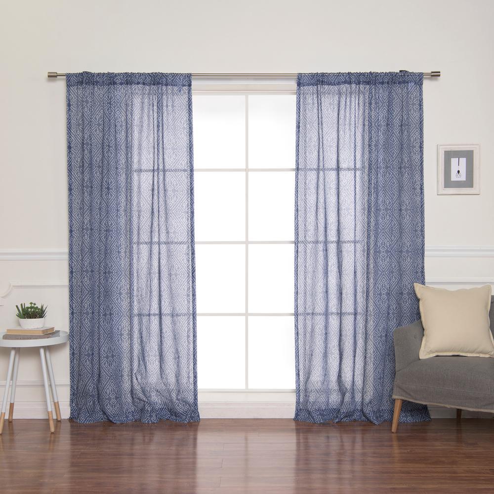 84 in. L Diamond Confetti Curtains in Indigo (2-Pack)