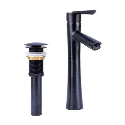 Hour Glass Single Hole Single-Handle Vessel Bathroom Faucet with Drain in Oil Rubbed Bronze
