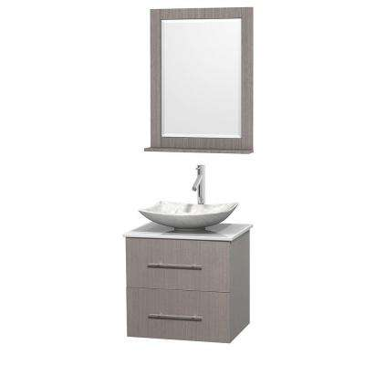 Centra 24 in. Vanity in Gray Oak with Solid-Surface Vanity Top in White, Carrara Marble Sink and 24 in. Mirror