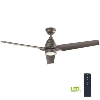 Varuchi 52 in. Integrated LED Indoor Natural Iron Ceiling Fan with Light Kit and Remote Control