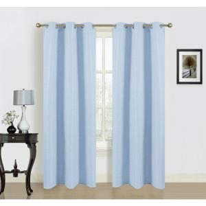 Click here to buy  84 inch Blended Silk Grommet Curtain Panel Pair in Baby Blue (2-Pack).