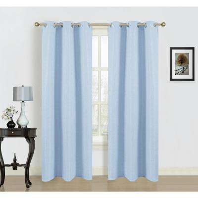 Blended Silk Grommet Curtain Panel Pair In Baby Blue 2 Pack
