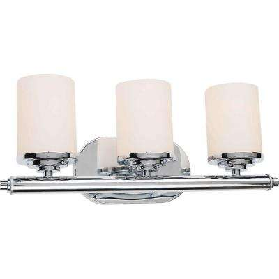 Burton 3-Light Chrome Incandescent Wall Vanity Light