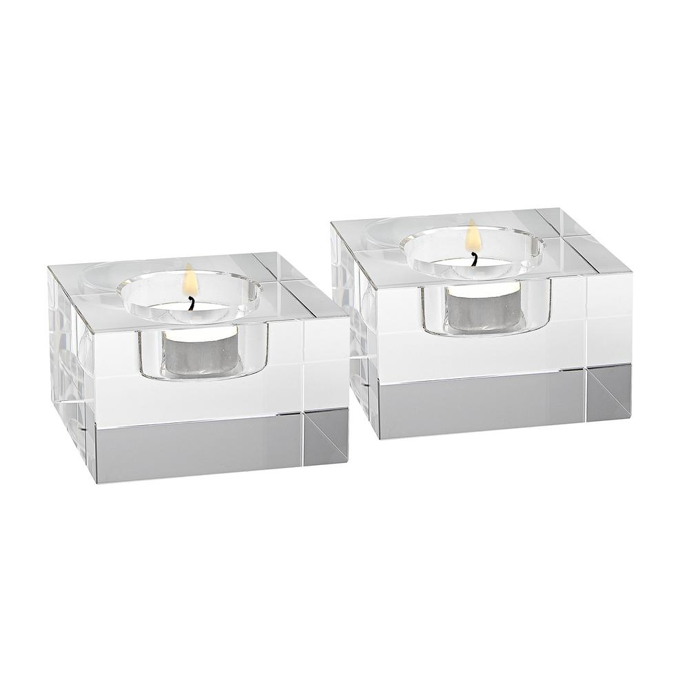 Dakota Clear Crystal Block Pair of T-lites