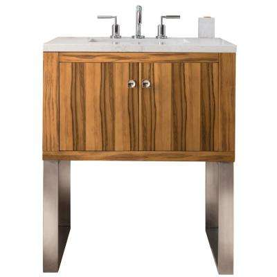 Westlake 30 in. Single Bath Vanity in Natural Apple Wood with Solid Surface Vanity Top in Arctic Fall with White Basin